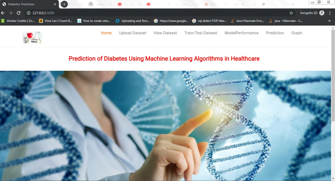 Prediction of Diabetes Using Machine Learning Algorithms in Healthcare