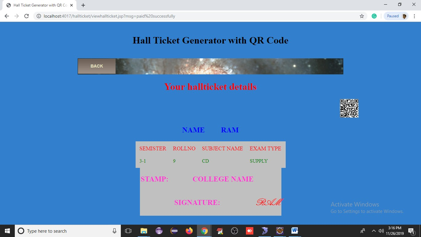 Hall Ticket Generater With Qr Code