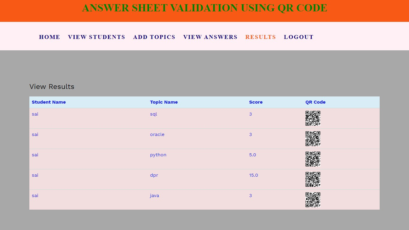 Answer Sheet Validation Using Qr Code